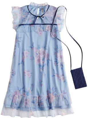 Beautees Girls 7-16 Floral Illusion Dress with Purse