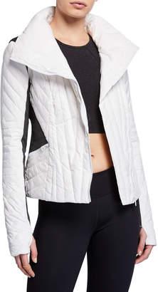 Blanc Noir Motion Paneled Puffer Jacket, Black/Charcoal Heather