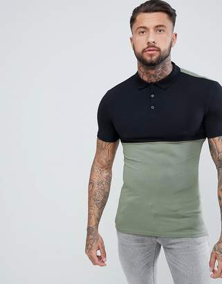 Asos Design DESIGN muscle jersey polo with stretch and contrast yoke