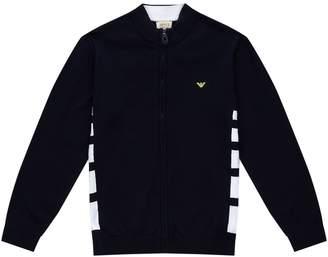 Giorgio Armani Stripe Panel Zip Up Cardigan