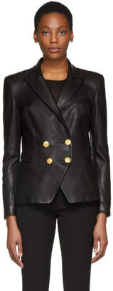 Pierre Balmain Black Leather Double-Breasted Blazer