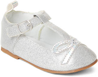 Stepping Stones (Toddler Girls) Silver T-Strap Glitter Shoes