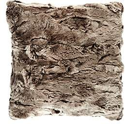 Adrienne Landau Rabbit Fur Pillow - Neutral