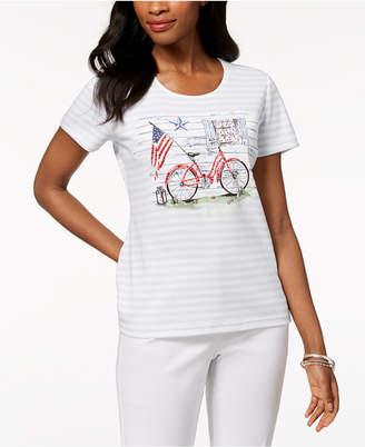 Karen Scott Americana Bicycle Graphic-Print T-Shirt, Created for Macy's