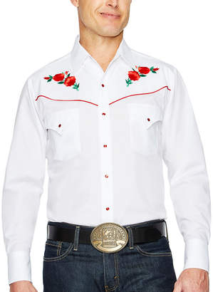 Ely Cattleman Long Sleeve Snap-Front Rose Embroidered Western Shirt