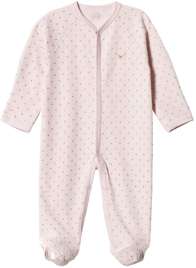 Livly Baby Pink/Gold Dots Saturday Simplisity Onesie