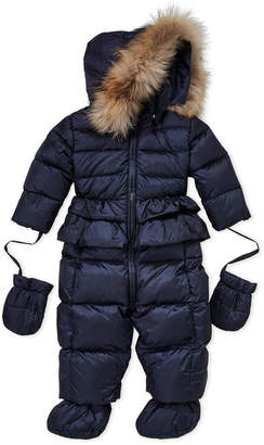 ADD Newborn/Infant Girls) Real Fur Trim Hooded Snowsuit