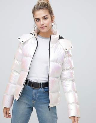 Brave Soul thunder padded jacket in pearlescent effect