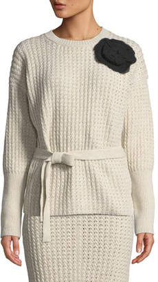 Brock Collection Kaori Corsage Marled Knit Sweater