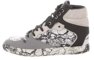 Balenciaga Marbled Leather High-Top Sneakers White Marbled Leather High-Top Sneakers