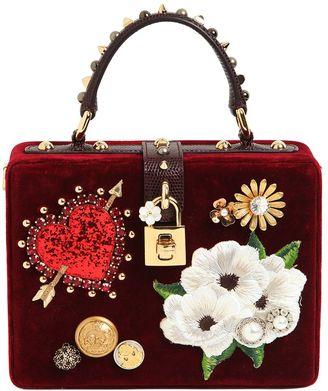 Dolce & Gabbana Dolce Box Embellished Velvet Bag