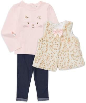 Little Me Baby Girl's 3-Piece Cotton Top, Faux Fur Vest & Pants Set