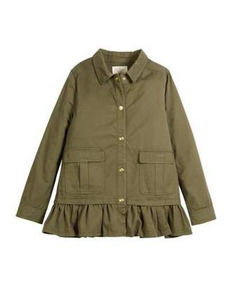 Kate Spade Ruffle-Hem Twill Field Jacket, Size 2-6x