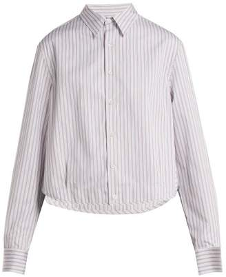 Raf Simons - Oversized Long Sleeve Striped Cotton Poplin Shirt - Womens - Brown Stripe