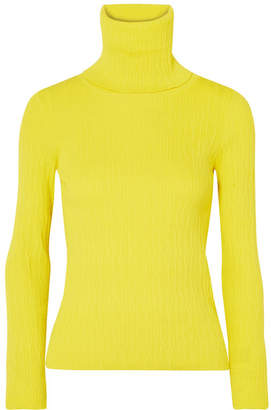 Simon Miller Berto Ribbed-knit Turtleneck Top - Chartreuse