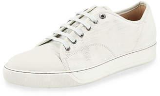 Lanvin Men's Nubuck Cap-Toe Low-Top Sneakers