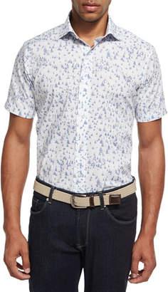 Peter Millar Collection Smooth Sailin' Short-Sleeve Sport Shirt, Dark Blue/White