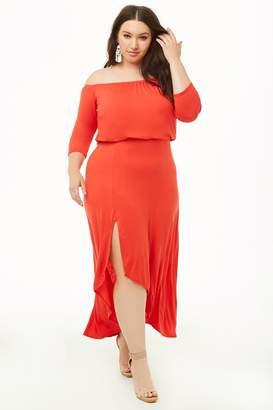 97520bcbf20 Forever 21 Plus Size Off-the-Shoulder High-Low Dress