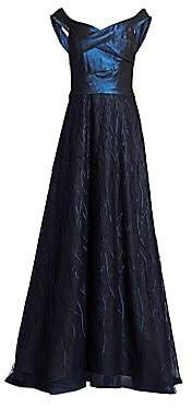 Rene Ruiz Collection Women's Off-The-Shoulder Embellished A-Line Gown