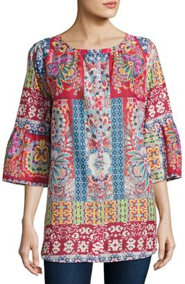 Johnny Was Brock Button-Front Cotton Top, Multi $159 thestylecure.com