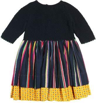 Wool Tricot & Striped Flannel Dress