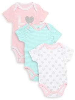 Baby's Three-Pack Love Cotton Bodysuit