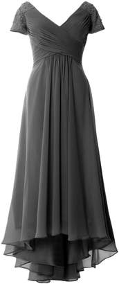 MACloth V Neck Formal Evening Gown Cap Sleeves High Low Mother of Bride Dress