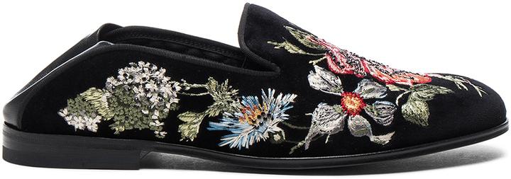 Alexander McQueenAlexander McQueen Embroidered Velvet Flats