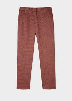 Paul Smith Women's Slim-Fit Rust And Black Check Stretch-Cotton Trousers