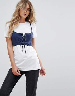 Brave Soul Maca T Shirt With Corset Bralette