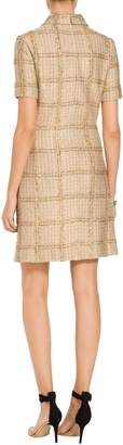 St. John Goldenflag Plaid Knit Short Sleeve Dress