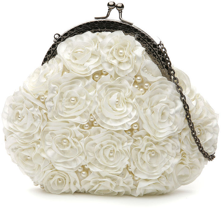 Moyna Bags Framed Bags with Ribbon Roses and Faux Pearls, Ivory 1 ea