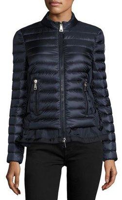 Moncler Diantha Laced-Down Peplum Jacket, Blue $1,150 thestylecure.com