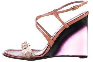 Casadei Patent Leather Embellished Wedges