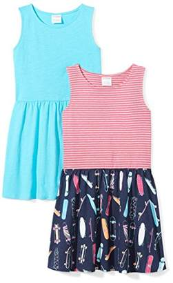 Spotted Zebra Girls' Little 2-Pack Knit Sleeveless Fit and Flare Dresses