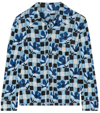 Prada - Printed Crepe De Chine Shirt - Blue