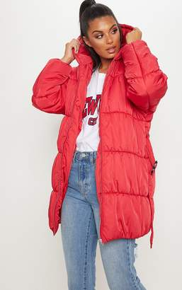 PrettyLittleThing Stone Belted Puffer Jacket