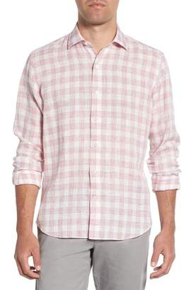 Culturata Trim Fit Plaid Linen Sport Shirt