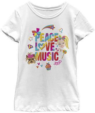 Fifth Sun Jojo Siwa Peace Love Music Rainbow Sticker Girls Crew Neck Short Sleeve Graphic T-Shirt - Preschool / Big Kid Slim
