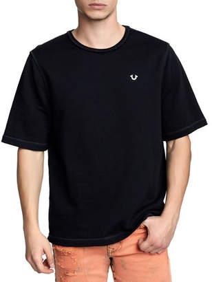 True Religion Men's Raw-Edge Logo-Zip T-Shirt