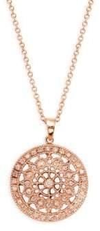 Effy 14K Rose Gold & Diamond Round Pendant Necklace