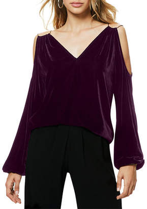 Ramy Brook Gigi Velvet Cold-Shoulder Top