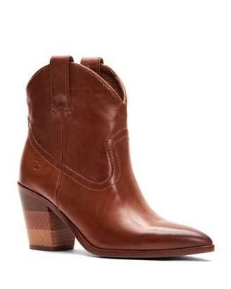 Frye Faye Short Waxy Leather Cowboy Boots with Chevron Heel