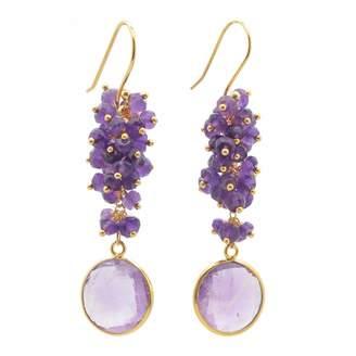 Carousel Jewels - Amethyst Cluster Drop Earrings