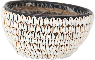 African Leather & Cowry Shell Basket