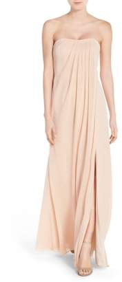 Jenny Yoo Raquel Front Slit Strapless Chiffon Gown