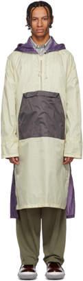 Marni Off-White and Purple Half-Zip Coat