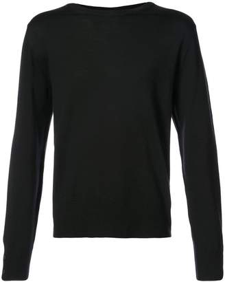 Thom Browne Relaxed Crewneck Pullover In Black Mercerized Merino