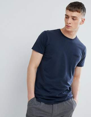 Solid T-Shirt With Raw Edge Neck In Navy