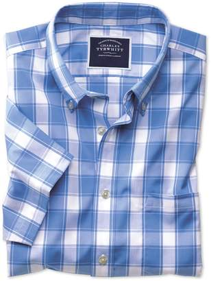 Charles Tyrwhitt Slim Fit Non-Iron Blue Check Short Sleeve Cotton Casual Shirt Single Cuff Size Small